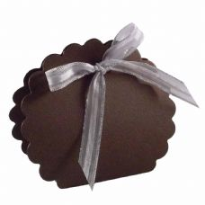 Brown Scalloped Clam Designer Favour Boxes